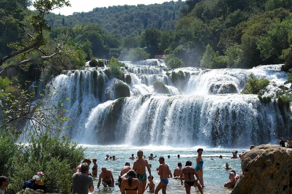 Krka river waterfall swimming
